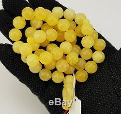 Islamic Prayer Tasbih Stone Amber Natural Baltic White Old Bead 57,6g Rare A-392