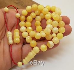 Islamic Prayer Tasbih Stone Amber Natural Baltic White Rare 45 Bead 27,3g X-050