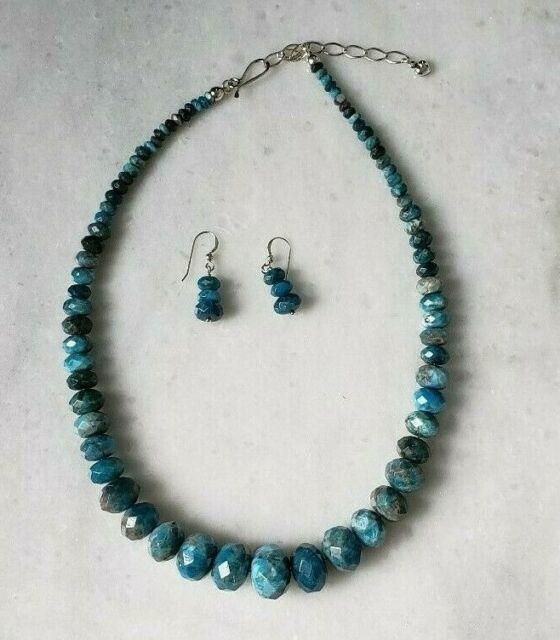 Jay King Blue Apetite Graduated Beads Necklace & Earrings Set Sold Out Rare 18