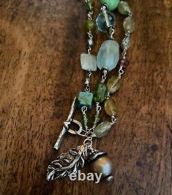 JES MAHARRY Sterling Silver Leaf Charm Gemstone Beaded Bracelet RETIRED RARE