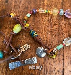 JES MAHARRY Sterling Silver Leather Gemstone Trade Beads Pendant Necklace RARE
