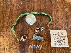 JES MAHARRY Sterling Silver Round Charm Green Turquoise Bracelet RARE NWT