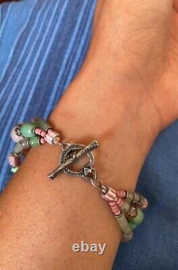 JES MAHARRY Sterling Silver Spirit Animal Gemstone Beaded Bracelet RETIRED RARE