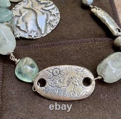 JES MAHARRY Sterling Silver Sun Horse Gemstone Pearls Necklace AMAZING VERY RARE