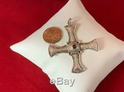 James Avery RETIRED RARE Sterling Silver Large Beaded Cross Pendant with Garnet