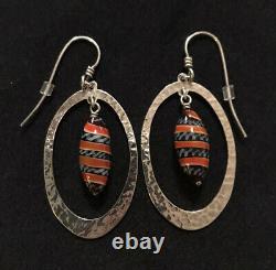James Avery Serengeti Bead Hammered Earrings Ear Hooks Sterling Retired Rare
