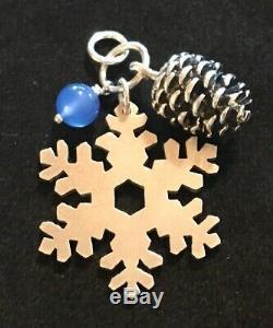 James Avery Snowflake Pine Cone Blue Bead Winter Pendant Rare Retired Sterling
