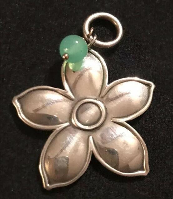 James Avery Spring Flower Green Chrysoprase Bead Pendant Rare Read Description