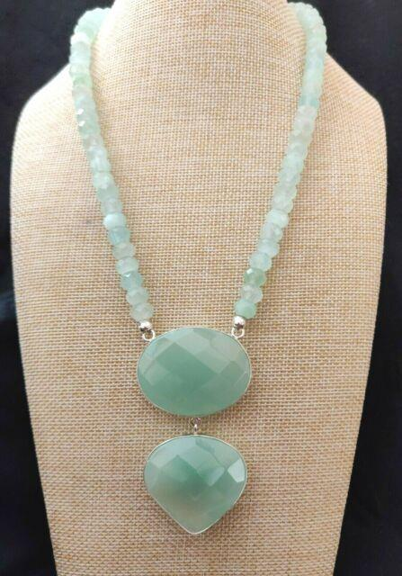 Jay King Light Green Serpentine Beaded Drop Necklace Rare Nwt