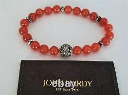 John Hardy RARE Red Agate Stone Bead Bracelet in Sterling Silver Mint! $650
