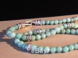 Judith Ripka VERY RARE Green Jade Bead&. 925 Silver 36 Necklace Fancy Hook Clasp