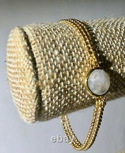 Julie Vos 24K Delicate 3 Strand Bracelet with Faceted White Stone RARE