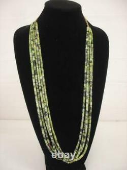 KEWA Santo Domingo 5-Strand Necklace Treasure Green Serpentine Beaded Long RARE