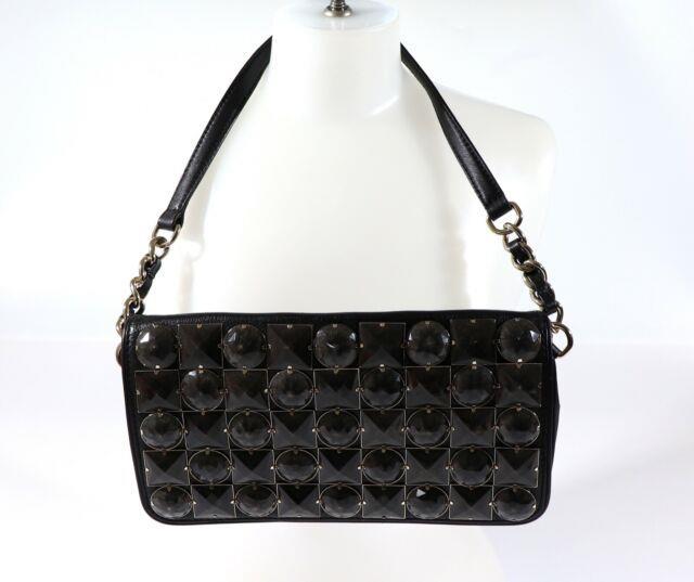 Kate Spade Beaded/stones Clutch Leather Shoulder Bag Small Black E. U. C Rare