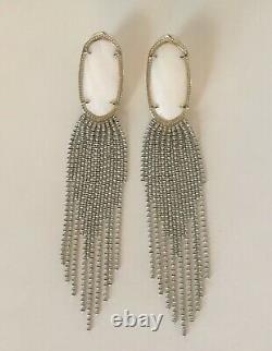 Kendra Scott White Pearl Stone Drop Earrings Gold Oval Tassel Chandelier Rare