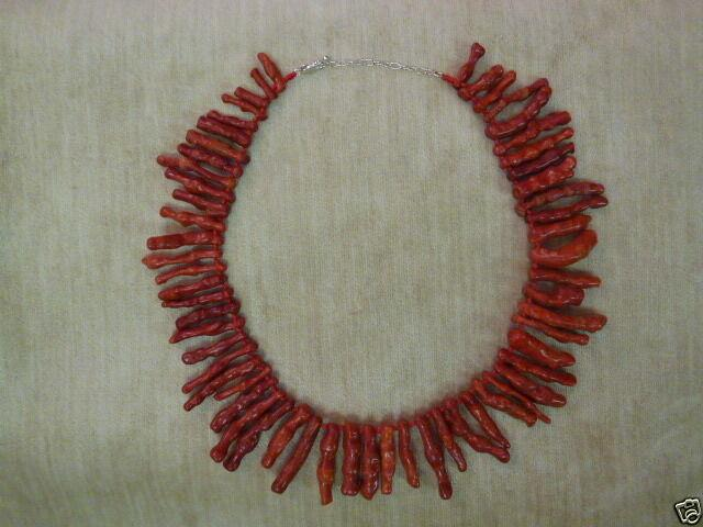 Killer Rare Red Branch Coral Bead Runway Necklace Sterling Silver Clasp