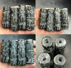 Lot Sale 4 pcs Old black Agate Stones Sassanian Intaglio Rare Cylinderseal Bead