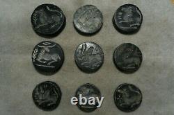 Lot Sale 9 Rare Shaped Ancient Near Eastern Sasanian Stone Intaglio Seal Beads
