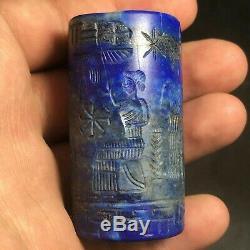 Master Piecs Sassanian Ancient Old Lapis Lazuli Stone Rare Big CylinderSeal bead