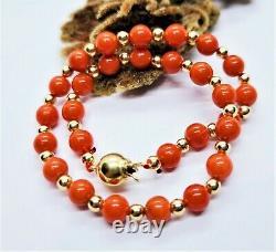 Mediterranean Sea Italian Red Coral Beads 14k Gold Bracelet 8 Rare Natural Gems