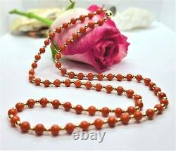 Mediterranean Sea Italian Red Coral Beads 14k Gold Necklace 20 Rare Natural Aaa