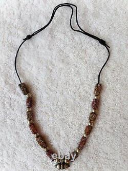 Moroccan Necklace Silver beaded Berber Tribes handmade by rare African stones