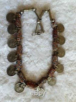 Moroccan Silver Necklace beads Berber Tribe handmade by rare African stones coin