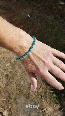 NEW! RARE 14k Solid Gold 4mm GENUINE SKY Blue Kingman TURQUOISE Bracelet skinny