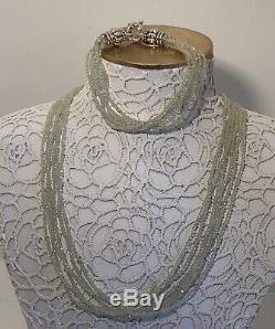 NWT LAGOS. 925 Silver Icon Prehnite Gemstone Multi-Strand Beaded Bracelet RARE