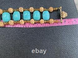 NWT RARE Stephen DWECK 6 Turquoise scarab carnelian bone bronze Beatle bracelet