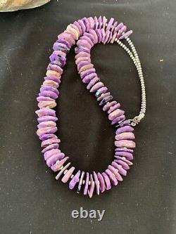 Native American Charoite Strand Sterling Silver Necklace Navajo Gift Rare 2841