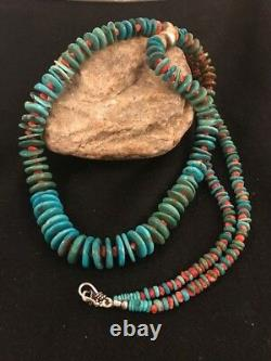 Native American Navajo Kingman Turquoise Sterling Silver Spiny Necklace 28 Rare
