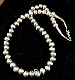 Native American Navajo Pearls 12 mm St Silver Bead Necklace 24 Rare Sale A424