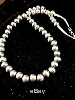 Native American Navajo Pearls 12 mm St Silver Bead Necklace 24 Rare Sale S424