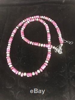 Native American Rare Natural Purple Sugilite Bead Sterling Silver Necklace 1303