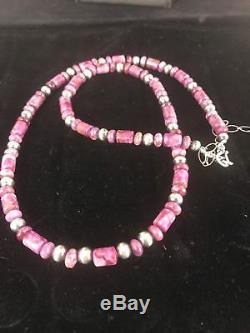 Native American Rare Natural Purple Sugilite Bead Sterling Silver Necklace S1303