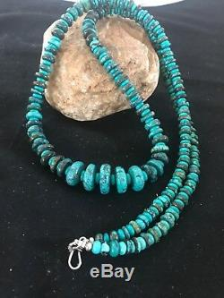 Native American Sterling Silver Necklace Spider Web Turquoise Beads Rare34 1307