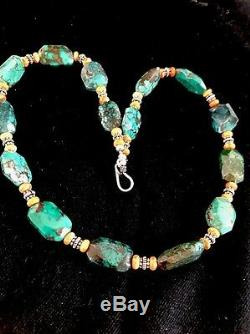 Native American Sterling Silver Rare Green Turquoise Spiny Oyster Bead Necklace