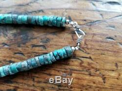 Native American Turquoise 8 mm Heishi Sterling Silver Bead Necklace 19.5 Rare