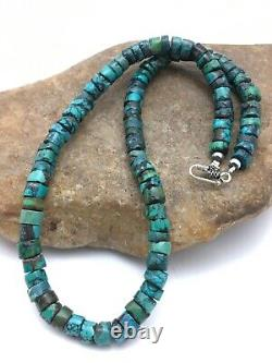 Native American Turquoise 8mm 18 Heishi Sterling Silver Necklace Rare 4348