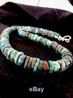 Native American Turquoise 9 mm Heishi Sterling Silver Bead Necklace Rare 383