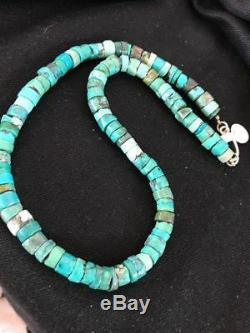 Native American Turquoise 9 mm Heishi Sterling Silver Bead Necklace Rare G421