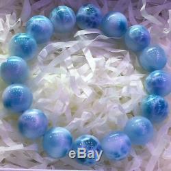 Natural Blue Larimar Rare Gemstone Translucent Beads Bracelet 13mm AAAAA
