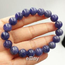 Natural Blue Tanzanite Tanzania Gemstone Rare Round Beads Bracelet 10mm AAAA