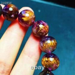 Natural Cacoxenite Purple Rutilated Cat Eye Round Beads Rare Bracelet 11mm AAAAA
