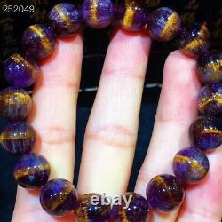 Natural Cacoxenite Purple Rutilated Round Beads Rare Women Bracelet 11mm AAAAA