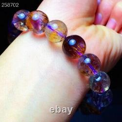 Natural Cacoxenite Purple Rutilated Round Beads Rare Women Bracelet 12mm AAAAA