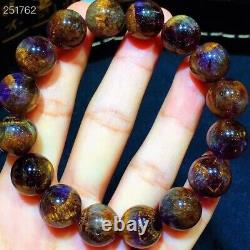 Natural Cacoxenite Purple Rutilated Round Beads Rare Women Bracelet 13mm AAAAA