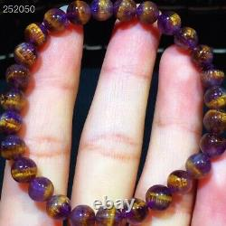 Natural Cacoxenite Purple Rutilated Round Beads Rare Women Bracelet 6.7mm AAAAA