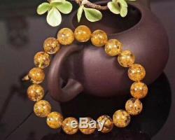 Natural Gold Flower Rutilated Quartz Round Beads Rare Bracelet 11.3mm AAAAA